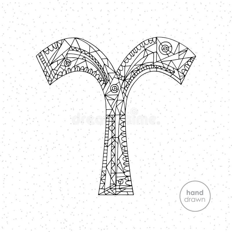 Aries Zodiac Sign Illustrazione disegnata a mano dell'oroscopo di vettore Pagina astrologica di coloritura illustrazione di stock