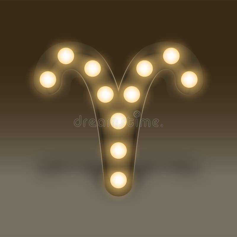 Aries Zodiac sign Incandescent light bulb box, illustration retro 3D style royalty free illustration