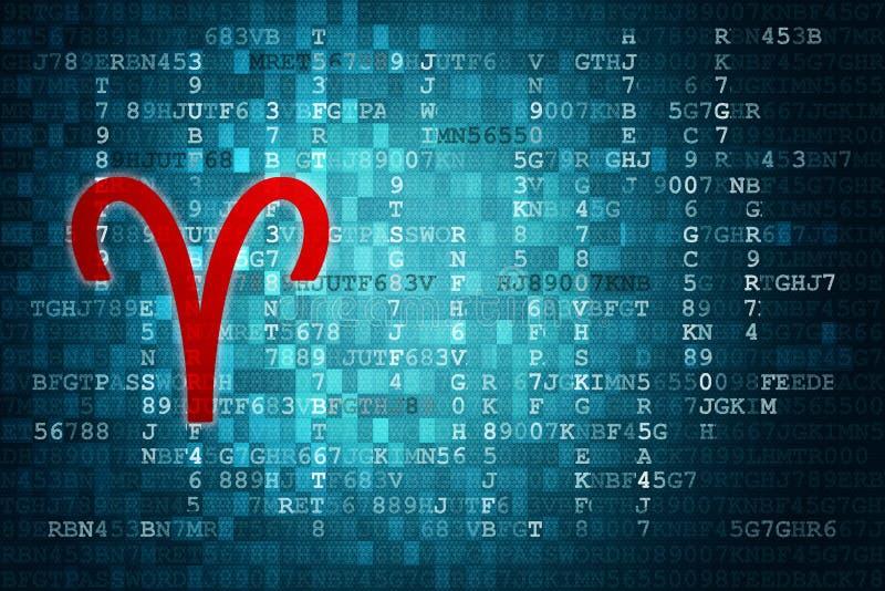 Aries Zodiac Sign rosso su fondo digitale blu Copi lo spazio royalty illustrazione gratis