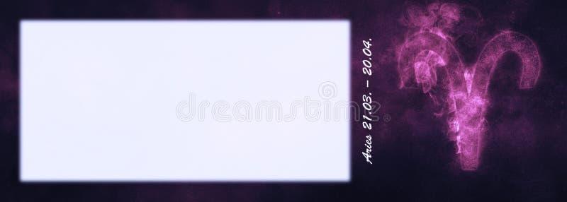 Aries Zodiac Sign Segno dell'oroscopo dell'Ariete Stanza del testo del modello fotografie stock libere da diritti