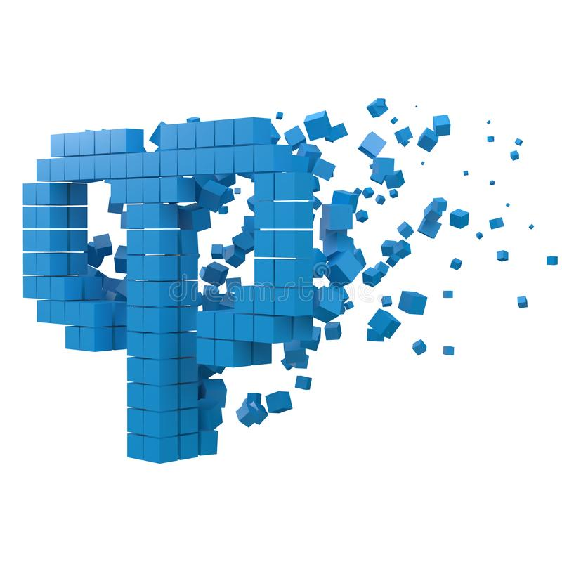 Aries zodiac sign shaped data block. version with blue cubes. 3d pixel style vector illustration stock illustration
