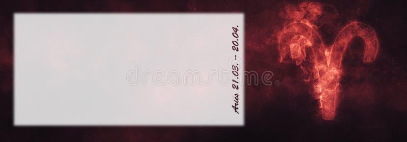 Aries Zodiac Sign Sinal do horóscopo do Áries Sala do texto do molde imagens de stock royalty free