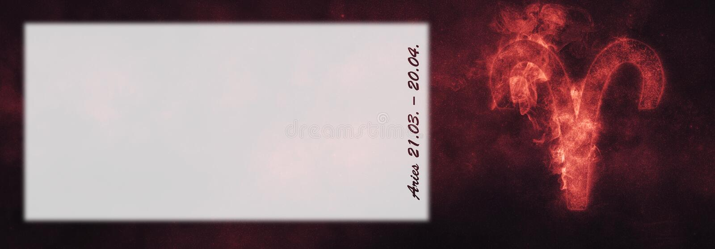 Aries Zodiac Sign Vädurhoroskoptecken Malltextrum royaltyfria bilder