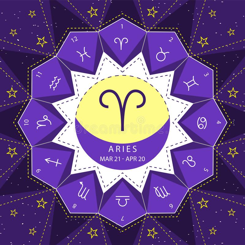 Aries. Zodiac signs outline style vector set on star sky background. stock illustration