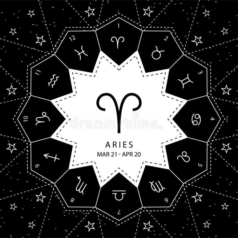 Aries. Zodiac signs outline style vector set on star sky background. vector illustration