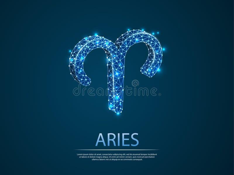 Aries zodiaka 3D niska poli- abstrakcjonistyczna ilustracja Wektorowy cyfry wireframe pojęcie ilustracji