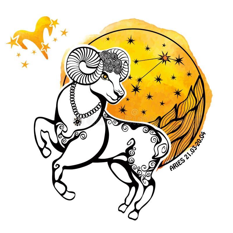 Aries zodiaka znak Horoskopu okrąg akwarela royalty ilustracja