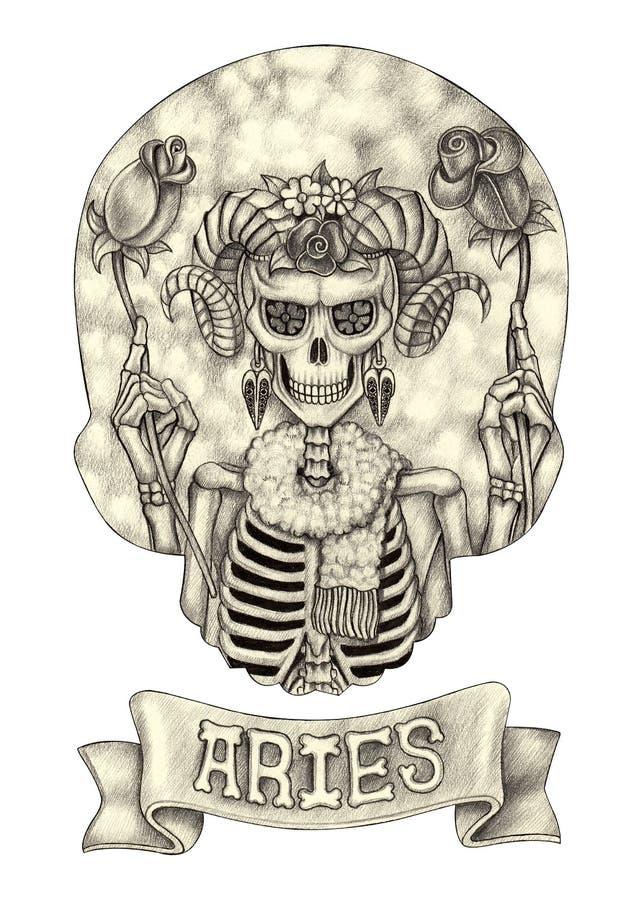 Ariete del cranio dello zodiaco Disegno della mano sul documento illustrazione di stock