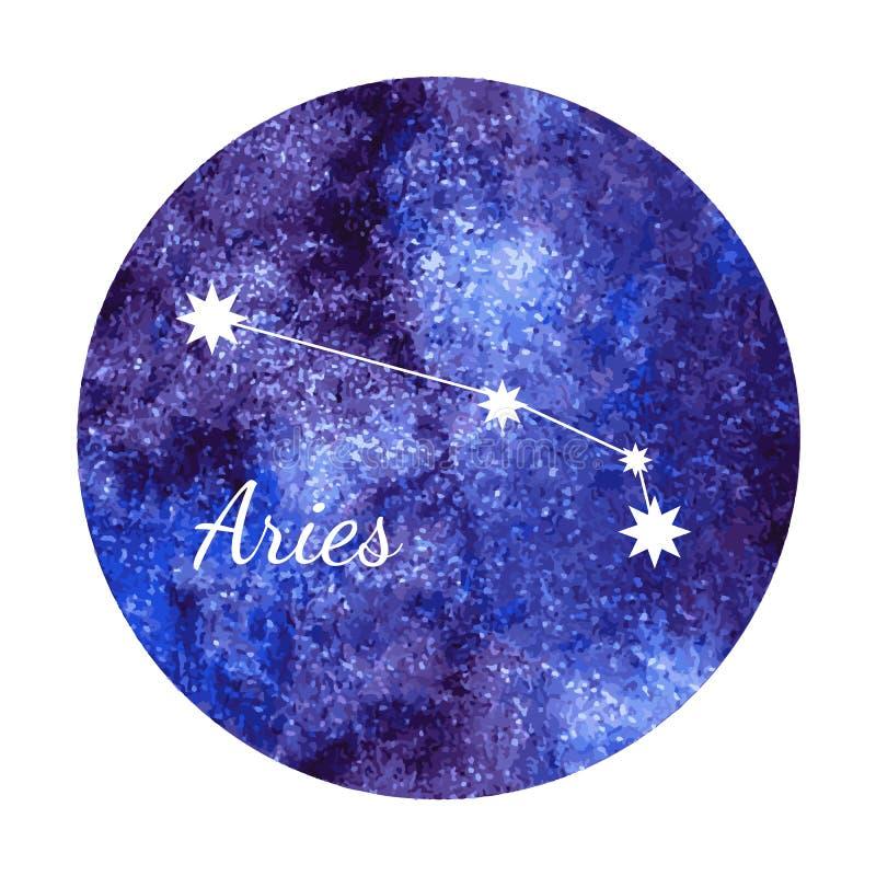 Ariete del segno dell'oroscopo dell'acquerello illustrazione vettoriale