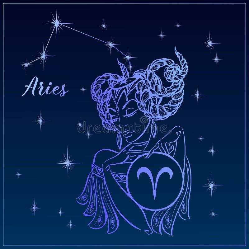 Ariete del segno dello zodiaco come bella ragazza La costellazione dell'Ariete Cielo notturno horoscope astrologia Vettore royalty illustrazione gratis