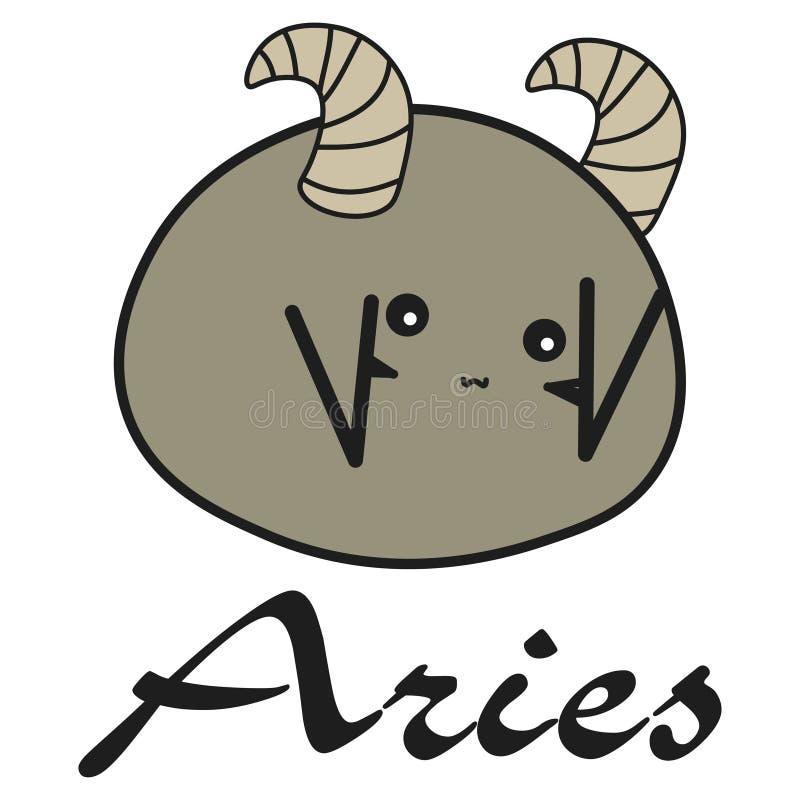 Ariete del segno dello zodiaco del coniglietto in uno stile del fumetto illustrazione vettoriale