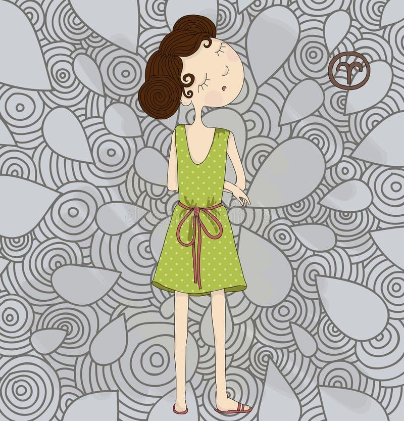 Ariete del segno dello zodiaco. Ragazza testarda ENV 10 illustrazione vettoriale