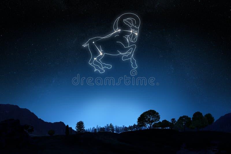 Ariete dello zodiaco con una stella e un profilo di simbolo fotografia stock libera da diritti