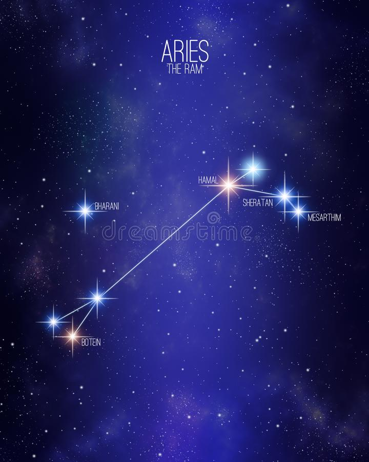 Ariete la mappa della costellazione dello zodiaco della ram su un fondo stellato dello spazio con i nomi delle sue stelle princip royalty illustrazione gratis
