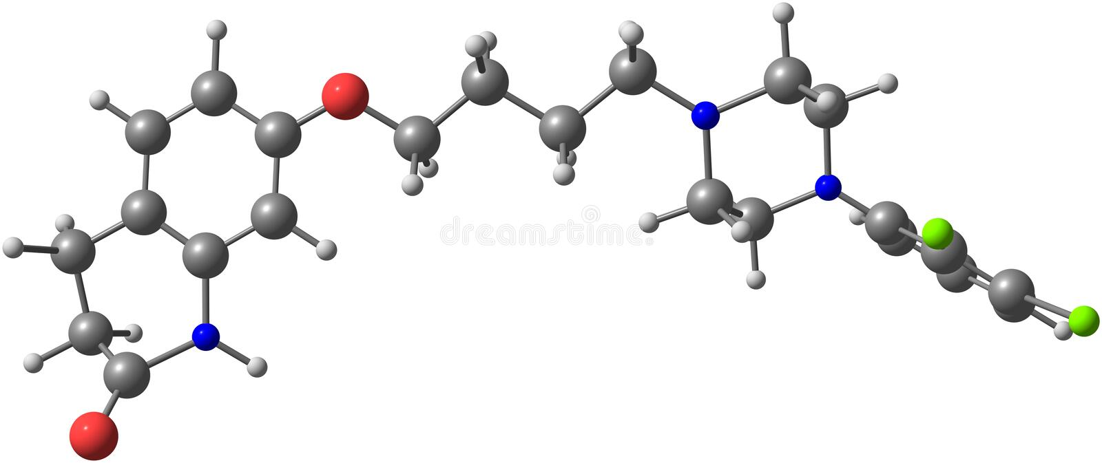 Aripiprazole molecule isolated on white. Aripiprazole (Aripiprex) is an atypical antipsychotic. It is recommended and primarily used in the treatment of royalty free illustration