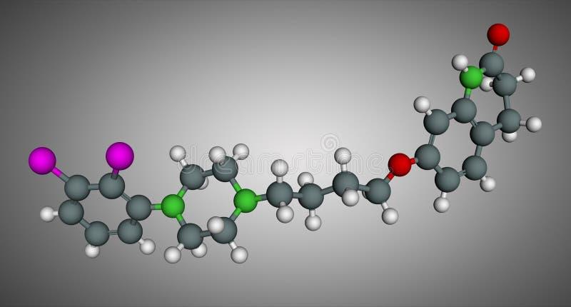 Aripiprazole, neurotransmitter, atypical antipsychotic drug molecule. Scale model. 3D rendering royalty free illustration