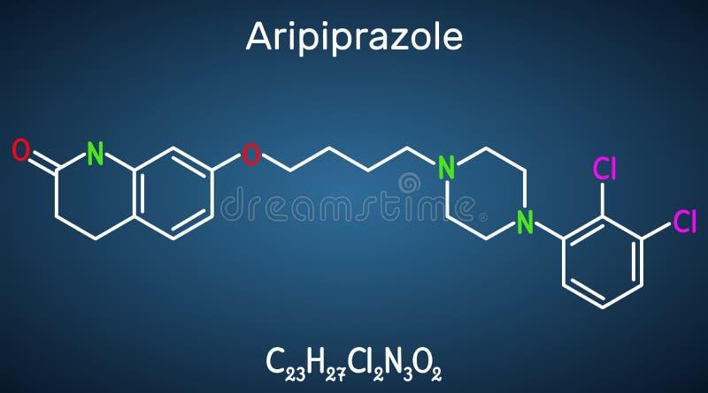 Aripiprazole, neurotransmitter, atypical antipsychotic drug  molecule. Structural chemical formula on the dark blue background. Vector illustration vector illustration