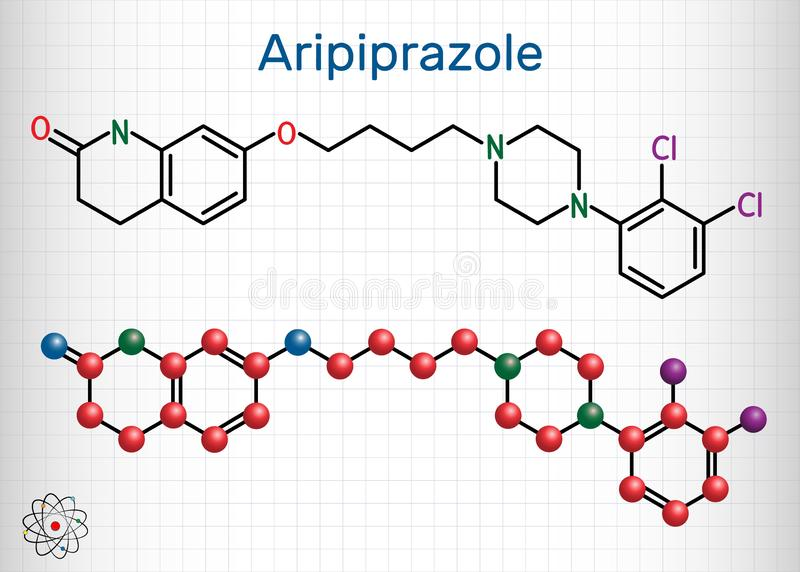 Aripiprazole, neurotransmitter, atypical antipsychotic drug  molecule. Structural chemical formula and molecule model. Sheet of. Paper in a cage. Vector vector illustration