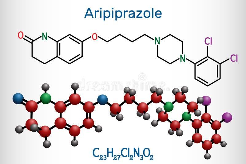 Aripiprazole, neurotransmitter, atypical antipsychotic drug  molecule. Structural chemical formula and molecule model. Vector illustration vector illustration