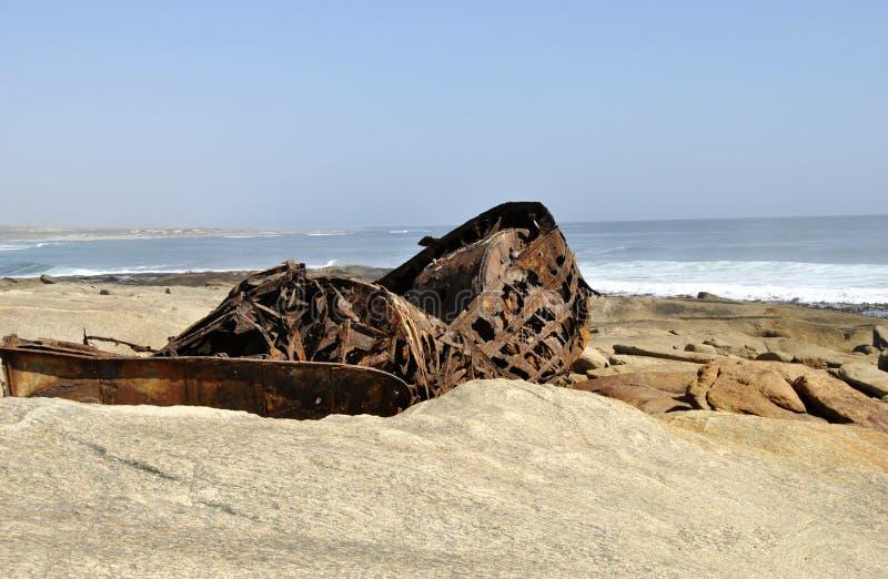 Aristea-Schiffs-Wrack auf Westcoast Südafrika lizenzfreie stockfotografie