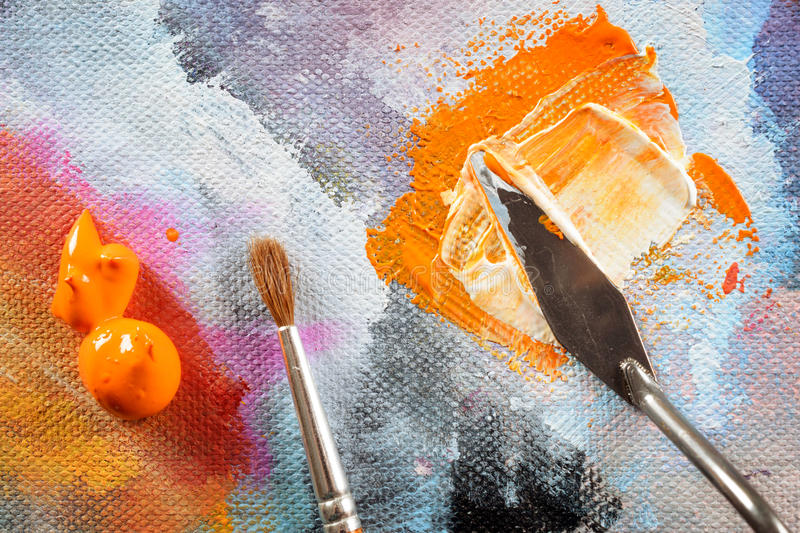 Aristic paint and putty knife stock images