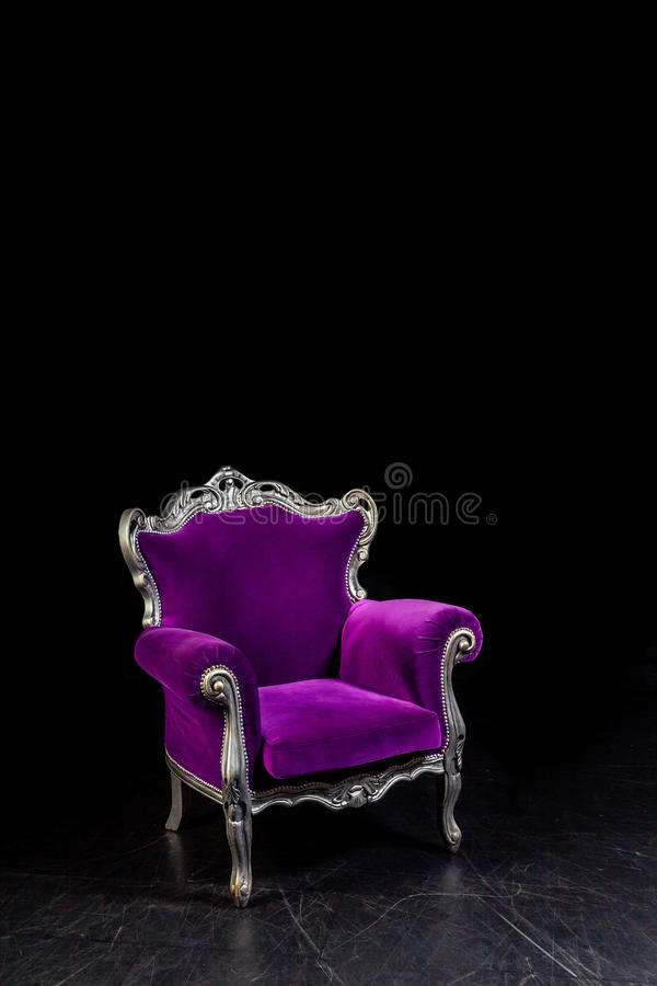 Aristocratic chair in classic interior. Luxurious antique interior in aristocratic style in dim light stock photo