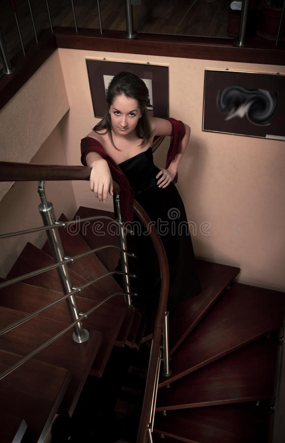 Download Aristocratic Lady On Stairs Stock Image - Image: 17185505