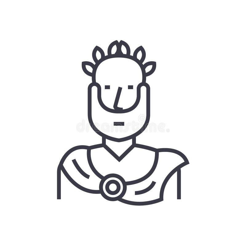 Aristote, ligne mince icône, symbole, signe, illustration de philosophe de vecteur grec de concept sur le fond d'isolement illustration de vecteur