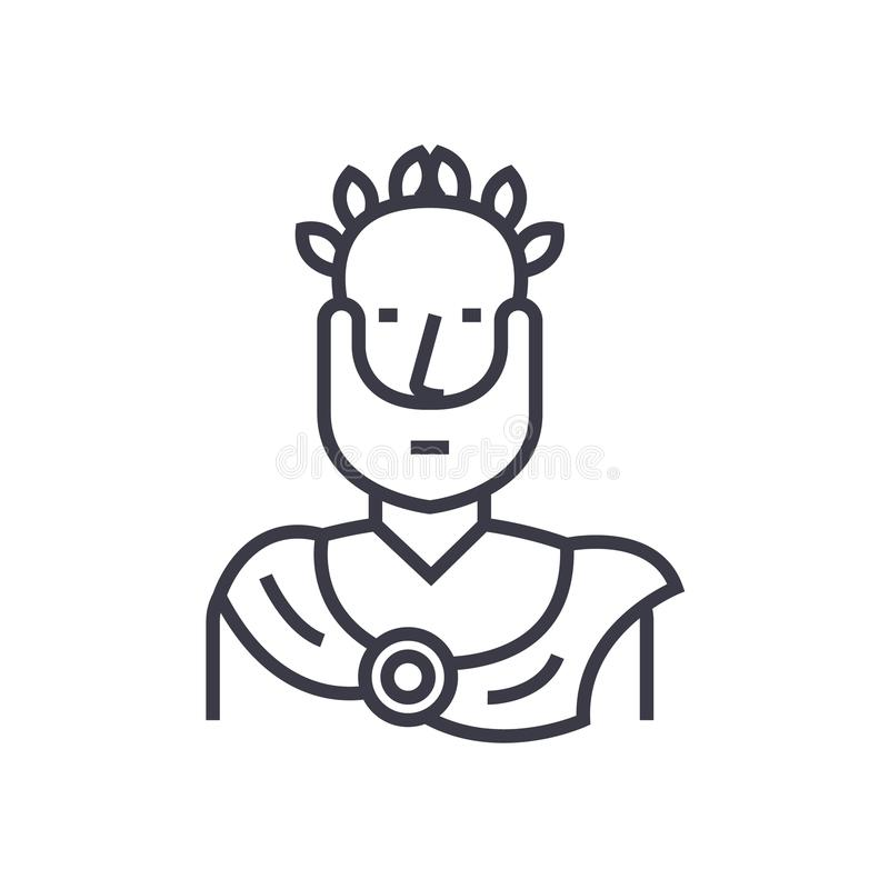 Aristotele, linea sottile icona, simbolo, segno, illustrazione del filosofo di vettore greco di concetto su fondo isolato illustrazione vettoriale