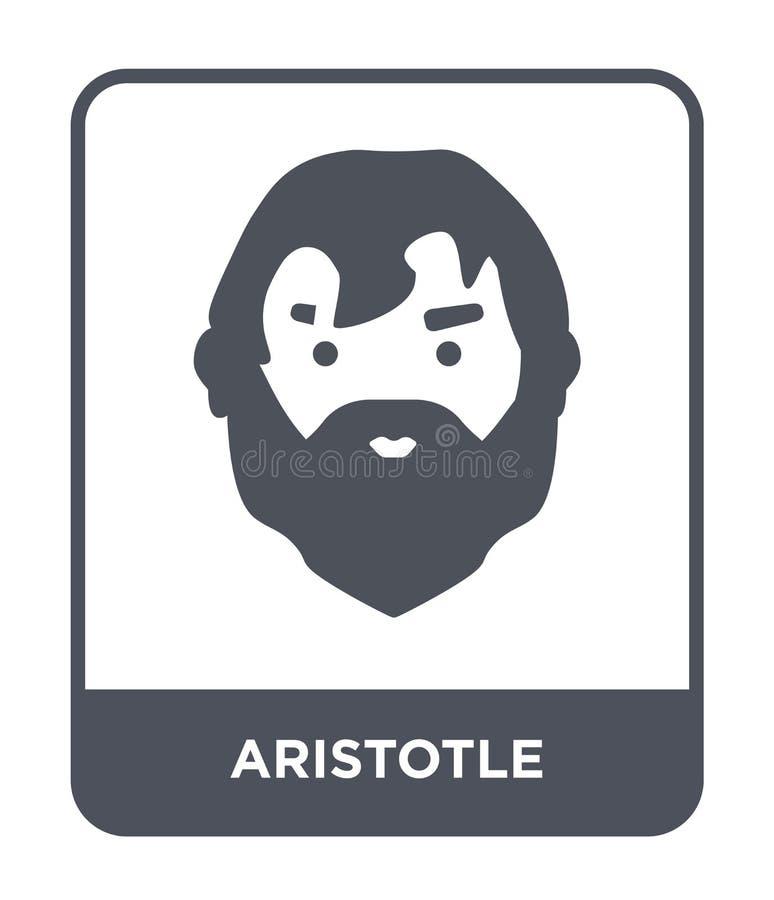 Aristoteles symbol i moderiktig designstil Aristoteles symbol som isoleras på vit bakgrund enkel och modern lägenhet för Aristote stock illustrationer