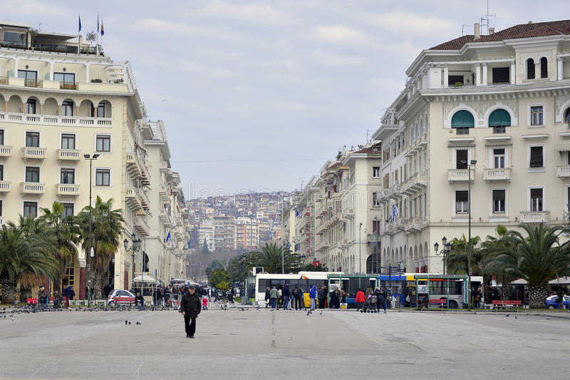 Aristotelous广场,塞萨罗尼基,希腊 库存照片