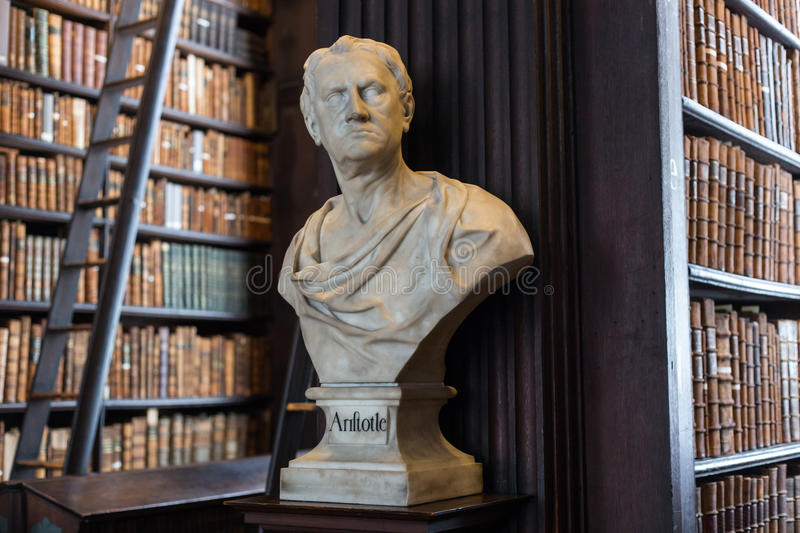 Aristotle bust in Trinity College. Aristotle Aristoteles marble bust in Trinity College Old Library in Dublin, Ireland stock images