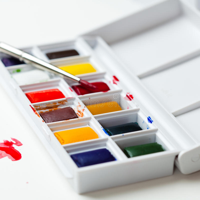 Download Arists' water colours stock photo. Image of brush, close - 19654384