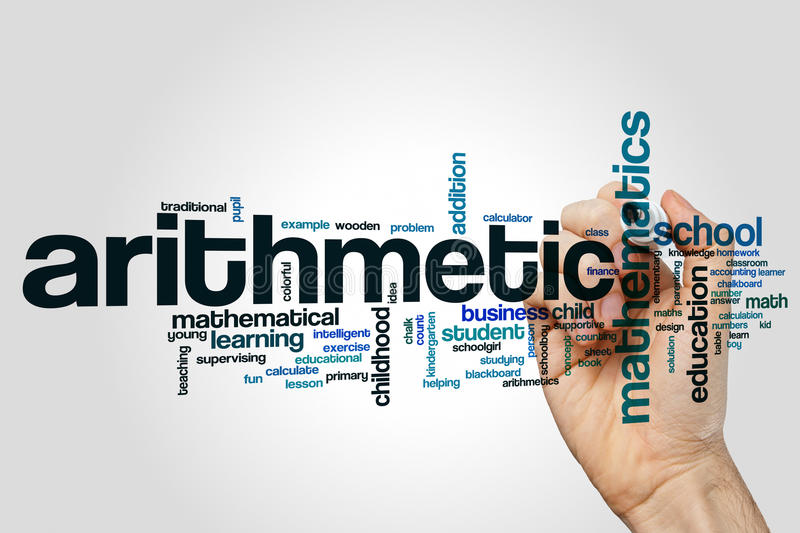 Arithmetic word cloud royalty free stock photo