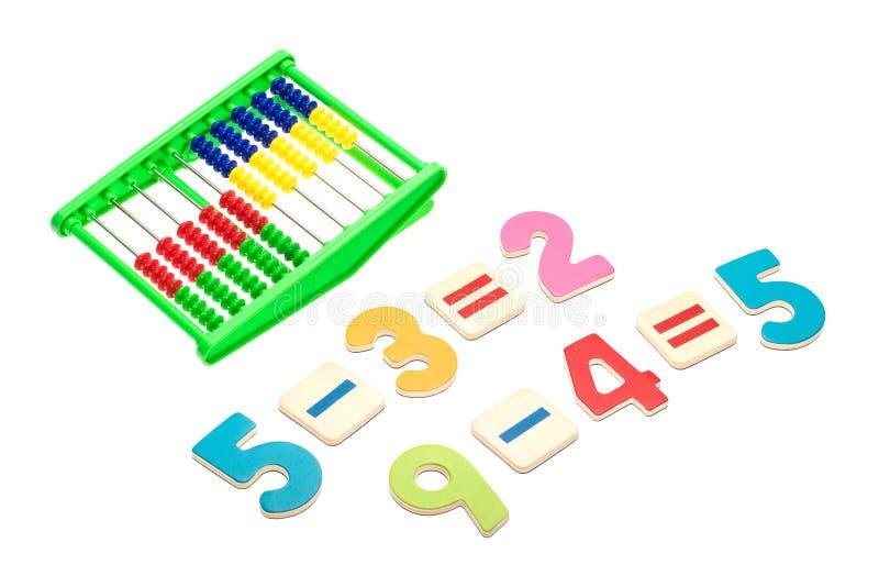 Arithmetisches Beispiel auf weißem Hintergrund stockbilder