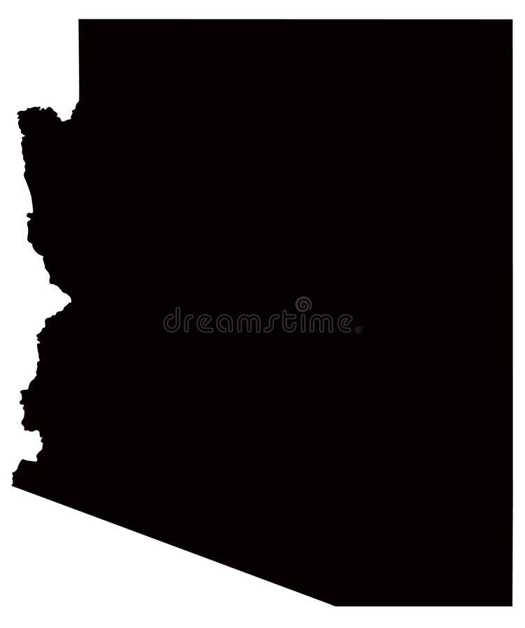 Arizona översikt, USA, land, kontur stock illustrationer