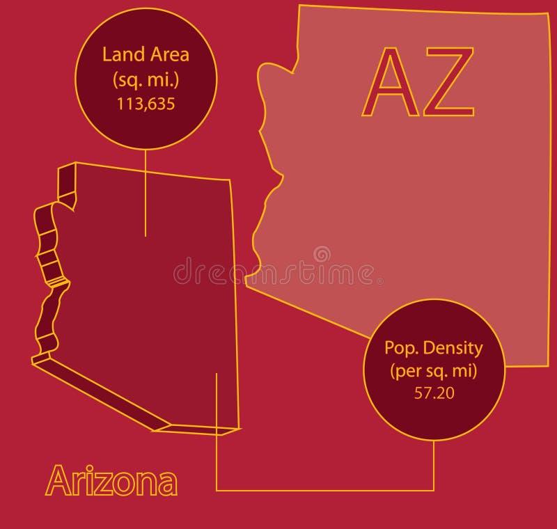 Arizona 3d Vector Map Info Graphic Stock Vector Illustration Of