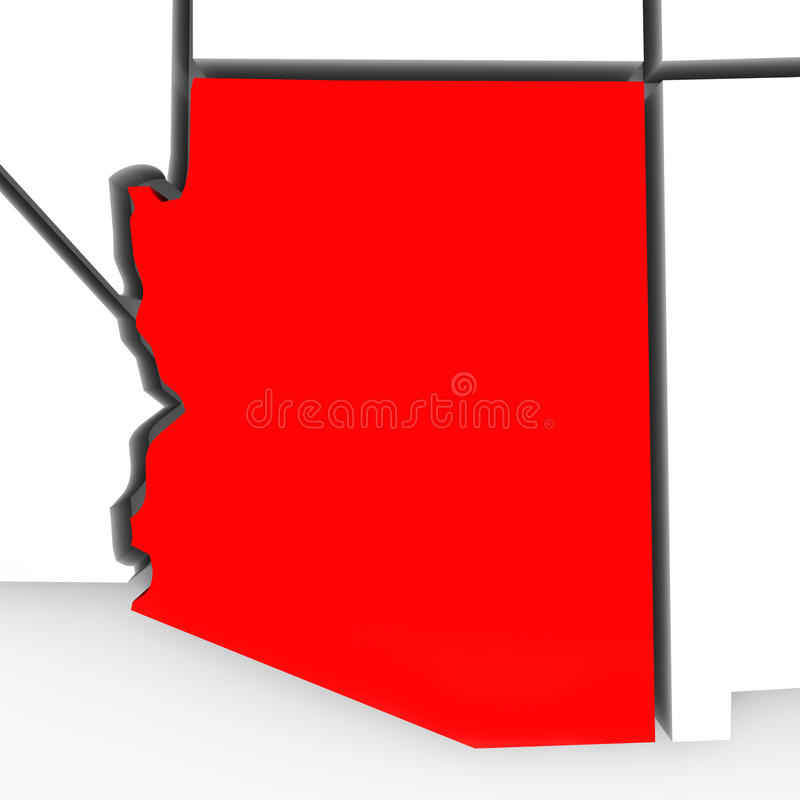 Arizona abstrakta 3D stanu Czerwona mapa Stany Zjednoczone Ameryka ilustracji