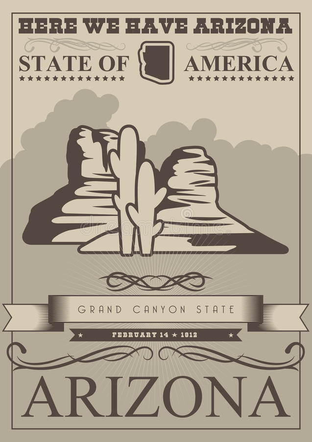 Arizona american travel banner. Grand canyon state card royalty free illustration