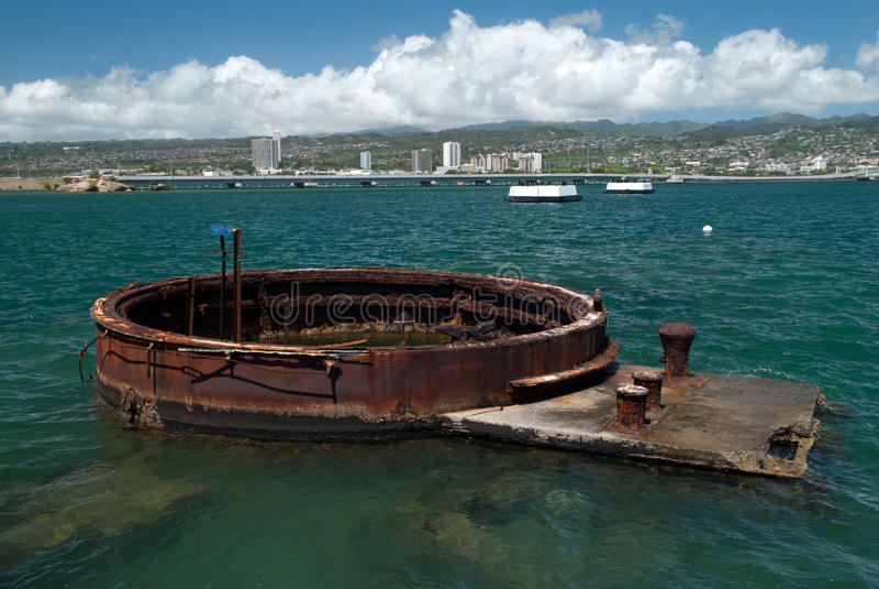 Arizona battle ship in Pearl Harbor royalty free stock photo