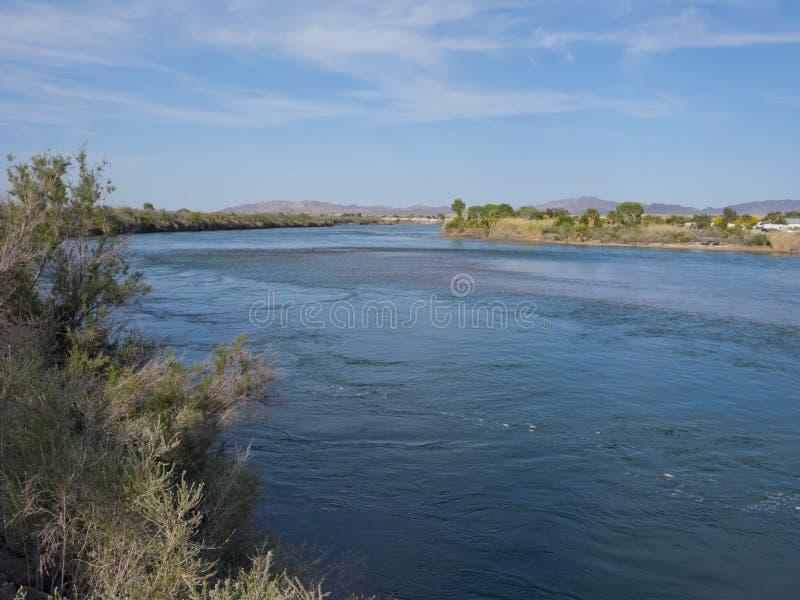 Arizona and California state border stock photos