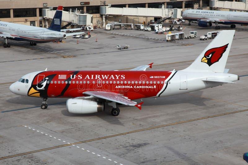 Arizona Cardinals d'US Airways Airbus A319 images stock