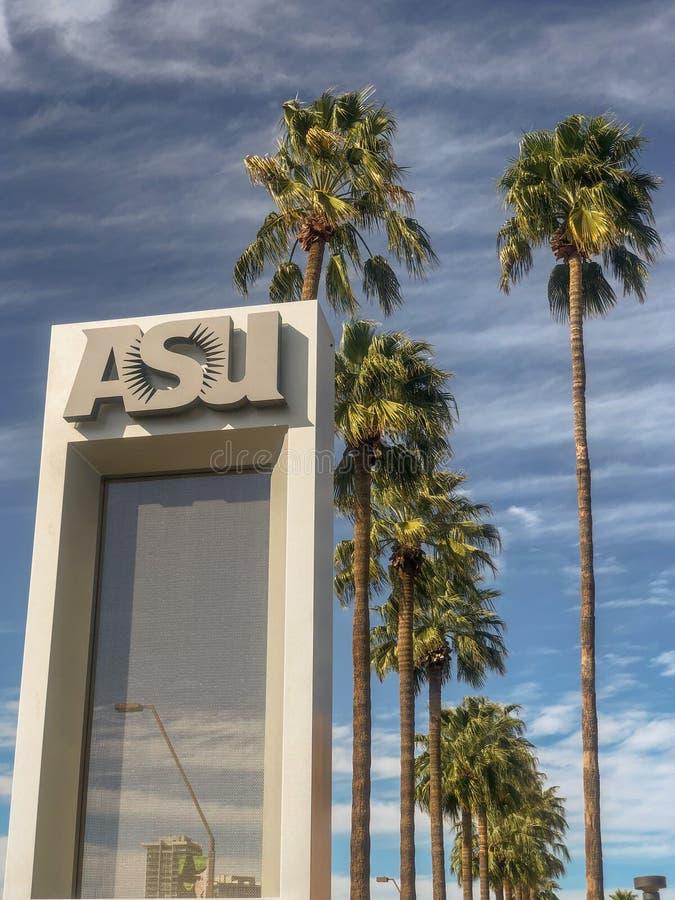 Arizona delstatsuniversitetTempe universitetsområde arkivbild