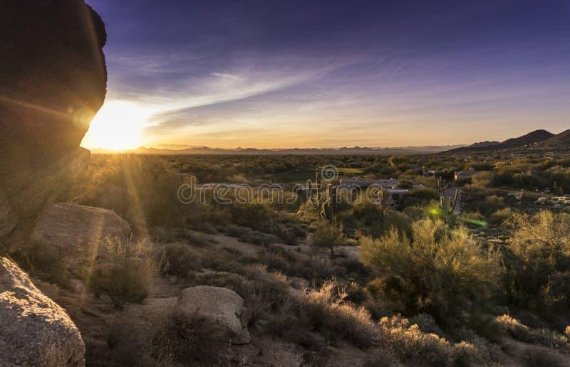 Arizona desert cactus boulder landscape stock photos