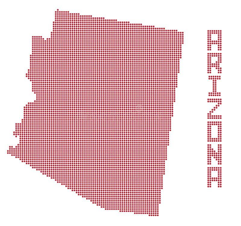 Arizona Dot Map royaltyfri illustrationer