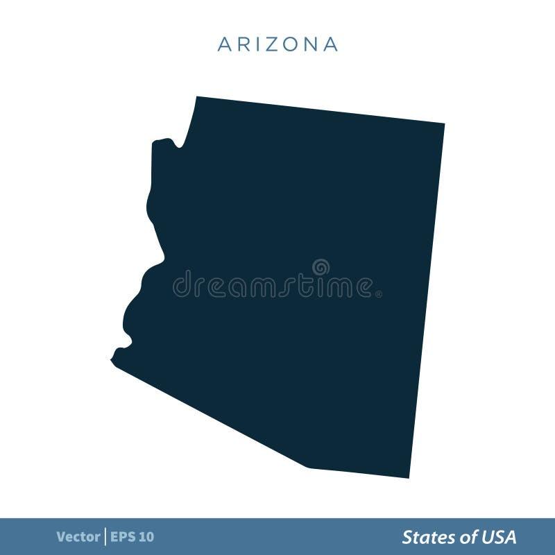 Arizona - estados del diseño del ejemplo de la plantilla del vector del icono del mapa de los E.E.U.U. Vector EPS 10 ilustración del vector