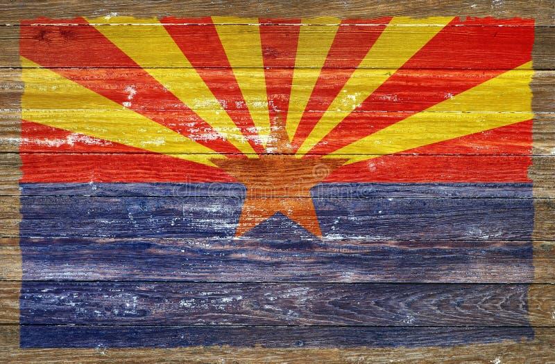 Arizona flaga na drewnie fotografia stock