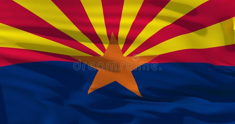 Arizona-Flagge auf Seidenbeschaffenheit, die Vereinigten Staaten von Amerika Abbildung 3D lizenzfreie abbildung