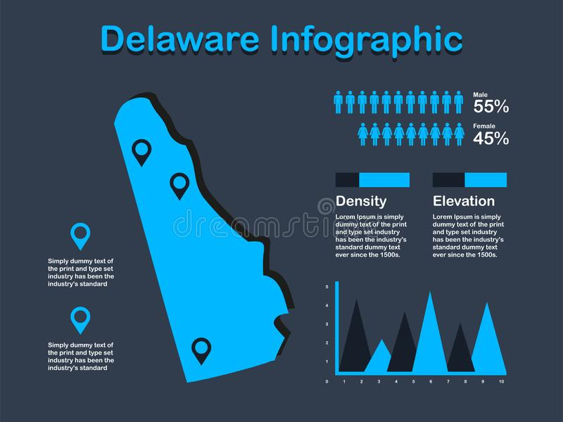 Delaware State USA Map with Set of Infographic Elements in Blue Color in Dark Background stock illustration