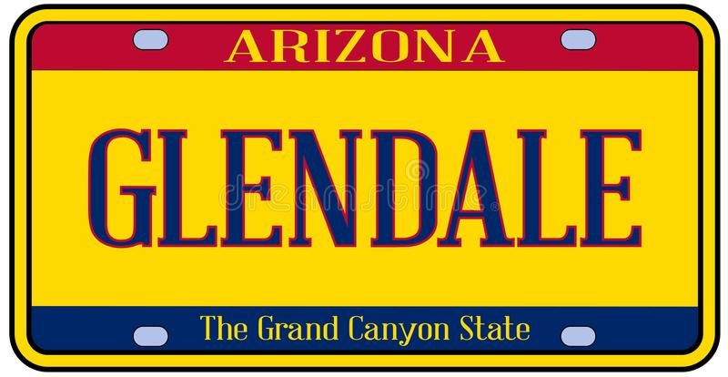 Arizona Glendale tillståndsregistreringsskylt vektor illustrationer